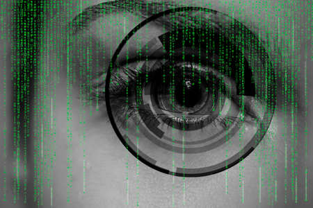 digitally generated image: Modern cyber woman with matrix eye concept