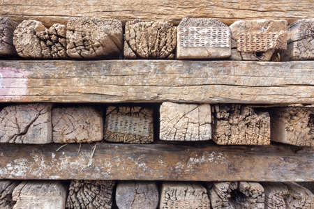 cross ties: old stack of railroad ties in thailand. Stock Photo