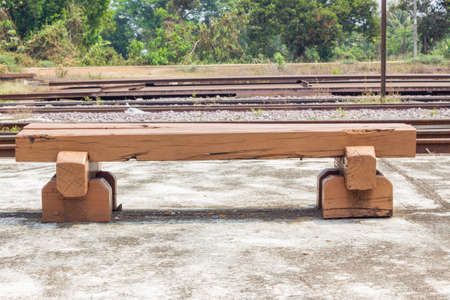 creosote: Bench made of old railroad ties in railway station, thailand Stock Photo