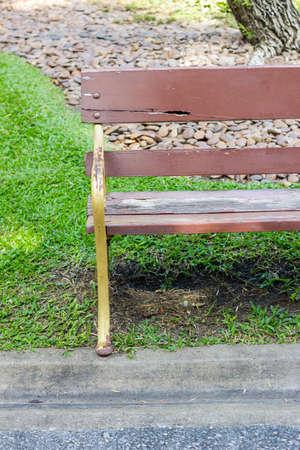 Closeup of park bench photo