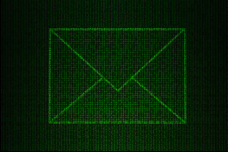 digital envelope made of green binary code. photo