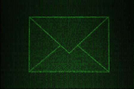 digital envelope made of green binary code. photo