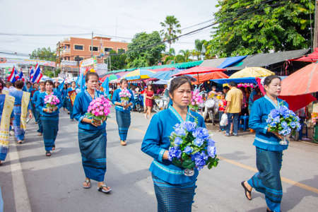 CHIANGRAI, THAILAND - AUG 12: unidentified people celebrating Thai Mother Day on August 12, 2014 in Chiangrai, Thailand. Today is a celebration of the Queens birthday as well as to honor every mothers.