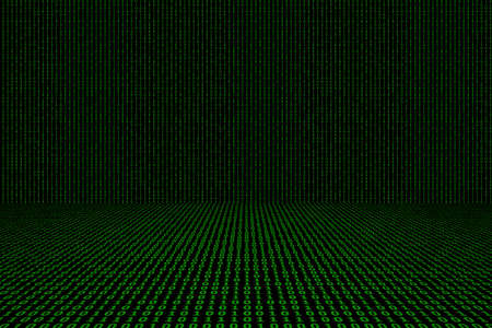 Binary computer code green background.