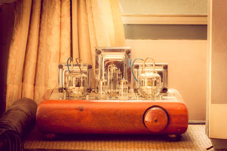 Vintage valve tube amplifier from 1950. photo