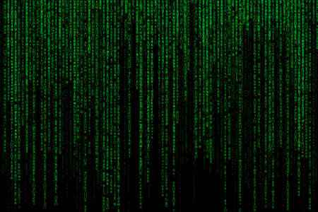 encoded: Matrix background with the green symbols, motion blur Stock Photo