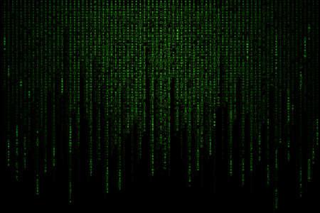 グリーン マトリックス背景コンピューター生成
