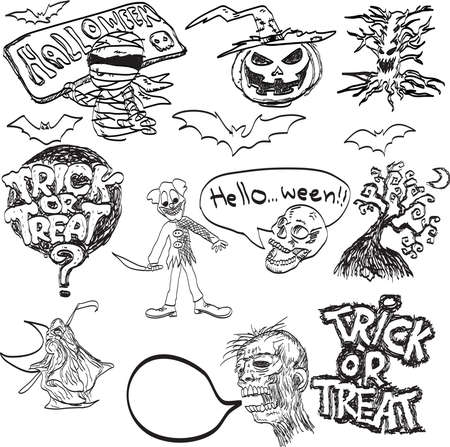 vector hand drawn of Halloween objects. Vector