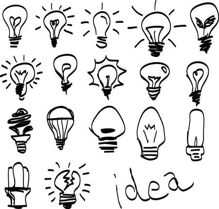 Set of Hand-drawn light bulbs, symbol of ideas.