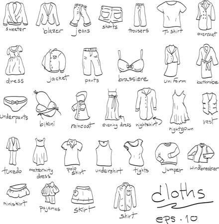 miniskirt: hand drawn set of cloths, doodles Illustration