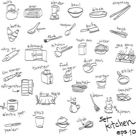 whisk broom: hand drawn set of objects in kitchen, doodles