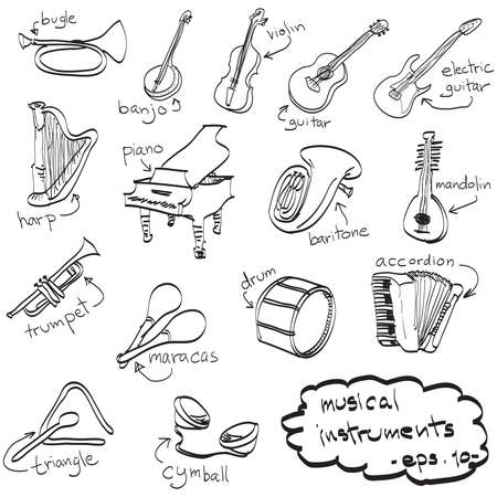 hand drawn set of musical instruments, doodles, vector. Vector