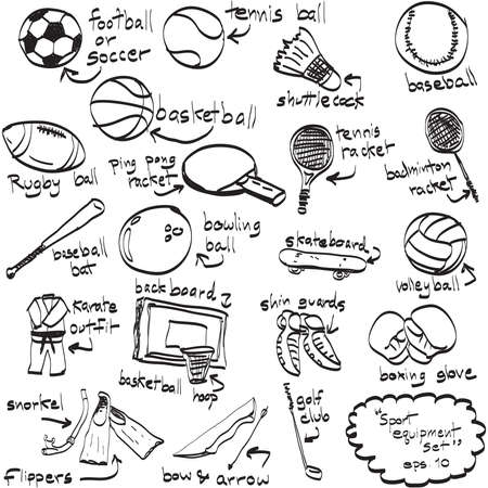 Doodle sport equipment. Vector illustration. Sketchy illustration hand drawn, vector object isolated, realistic image Vector