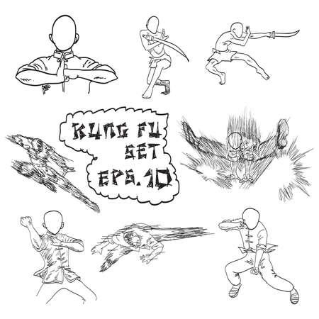 vector hand drawn set of Chinas kung fu, doodles. Vector