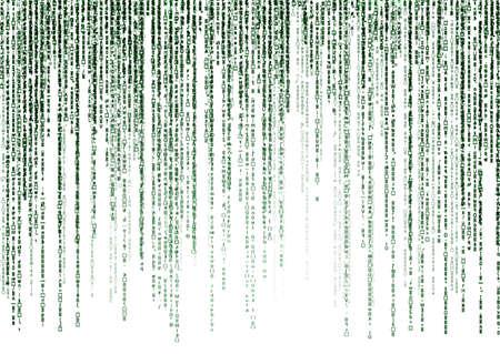 白い背景の上のマトリックス コード