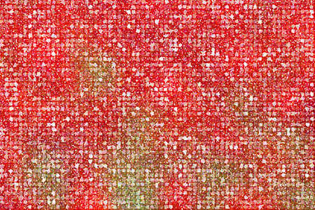 polychromatic: Pointillized multicolored abstract on red background.