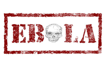h1n1 vaccination: EBOLA red stamp text on white background, skull instead of the letter o in the middle