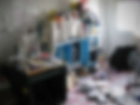 messy room: Blurred messy room, abstract background. Stock Photo