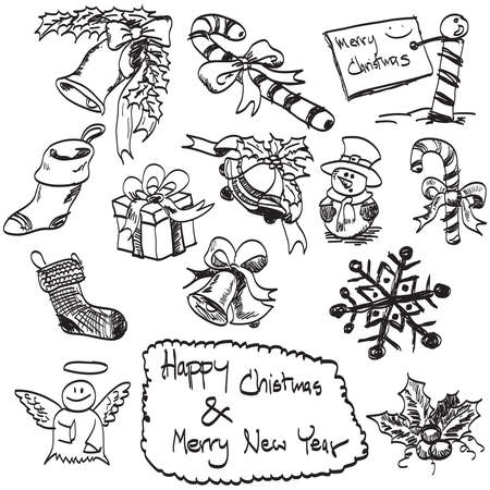 doodles hand drawn Christmas set, vector. photo
