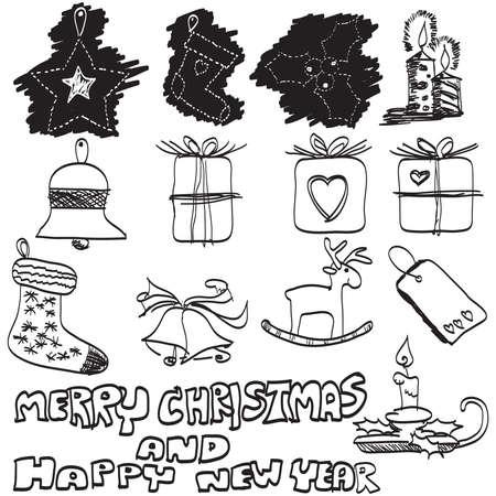doodles hand drawn Christmas set, vector photo