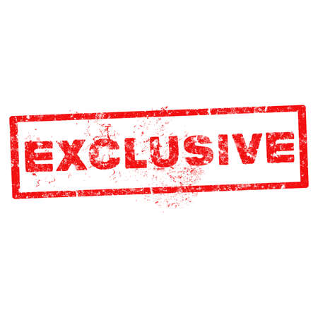 stamp exclusive with red text over white background Vector
