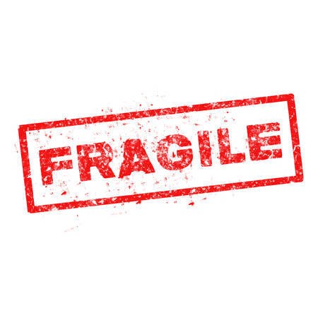 fragile red rubber stamp on white background. Illustration