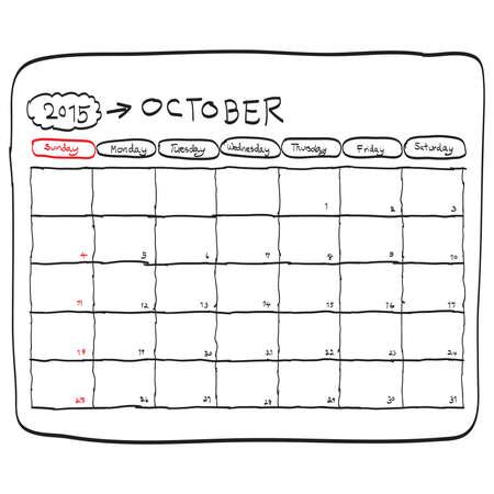 2015 年 10 月カレンダー ベクトルを計画手描きいたずら書き。 写真素材 - 33354599