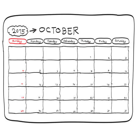 october: october 2015 planning calendar vector, doodles hand drawn.