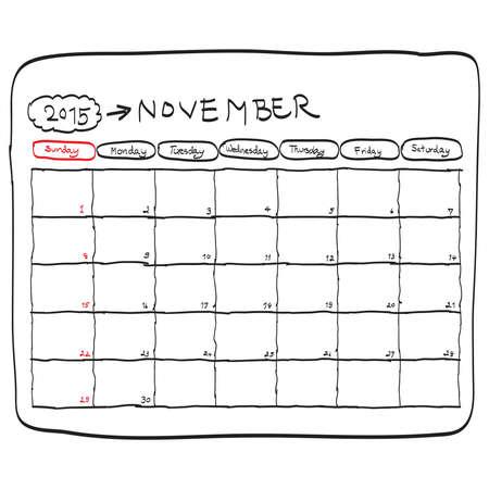 november 2015 planning calendar vector, doodles hand drawn. Vectores