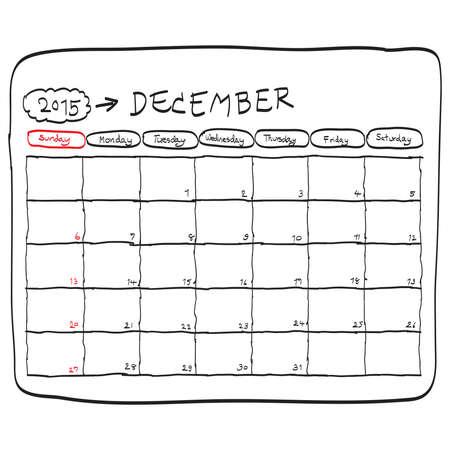 2015 年 12 月カレンダー ベクトルを計画には、手描きがいたずら書き。 写真素材 - 33354602