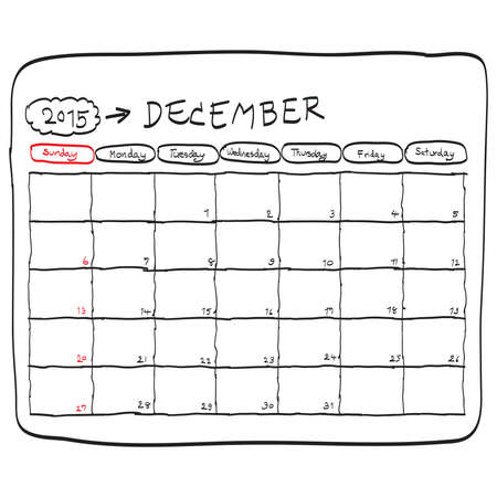 december 2015 planning calendar vector, doodles hand drawn. 向量圖像