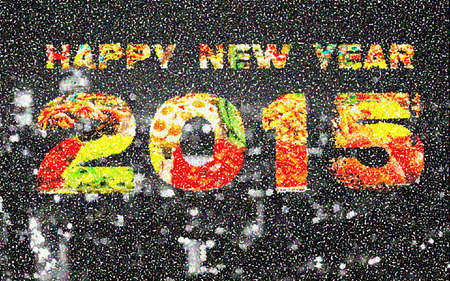 Happy New Year 2015 Pointillized multicolored abstract background. Stock Photo