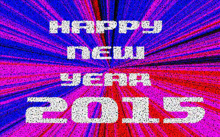 contiguous: Happy New Year 2015 Pointillized multicolored abstract background. Stock Photo