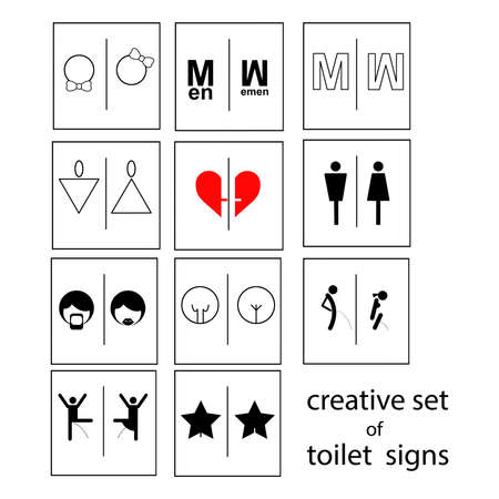 accessible: creative set of toilet signs or restroom signs isolated on white background, vector