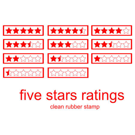 ratings: red clean rubber stamp five stars ratings isolated on white, vector