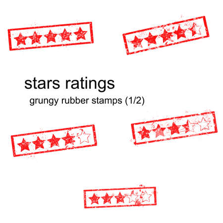 five stars: red grungy rubber stamp five stars ratings isolated on white, vector, set 12 Stock Photo
