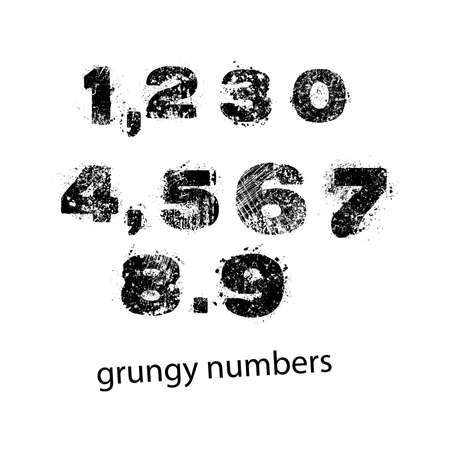 comma: Set of grunge numbers with full stop and comma. Vector illustration