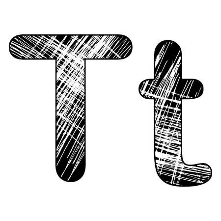 grunge scratch letter T alphabet symbol design on white