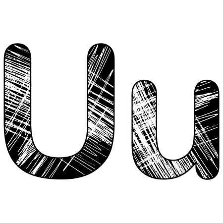 grunge scratch letter U alphabet symbol design on white Ilustração