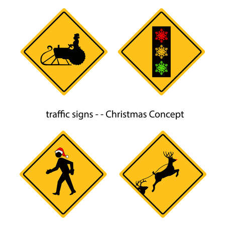 tractor warning sign: creative warning traffic signs with Christmas concept, vector.