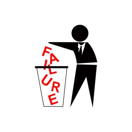 tirar basura: Tirar fracaso, el �xito del negocio concepto, inspirado por Muestra de no tirar basura Foto de archivo