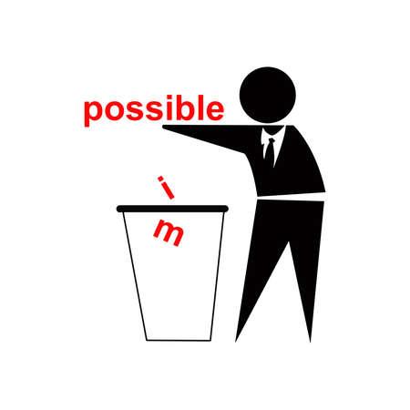 botar basura: Tirar im from posible, el concepto de �xito del negocio, inspirado por Muestra de no tirar basura