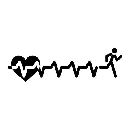Heartbeat make running man symbol stock vector. Vector