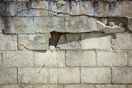 tsunamis: closeup of grungy dangerous wall with cracks
