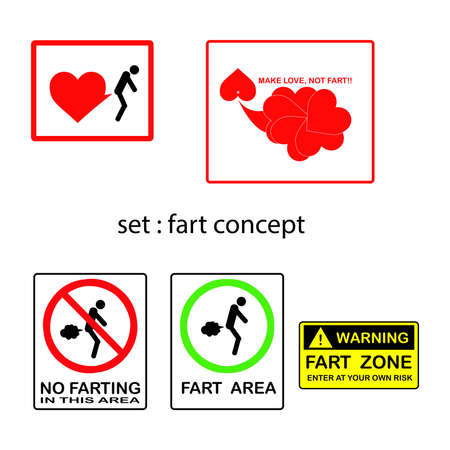obscene: vector set of fart concept with signs and symbols.