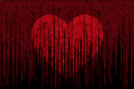 red matrix background, with motion blur, isolated on black background, with love heart symbol Foto de archivo