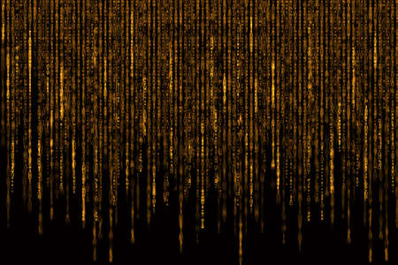 Digital Abstract background, orange golden matrix.