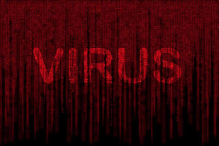 red matrix background, with motion blur, isolated on black background, with word VIRUS photo