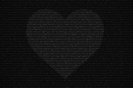 Black And White Binary Computer Code Background With Love Heart