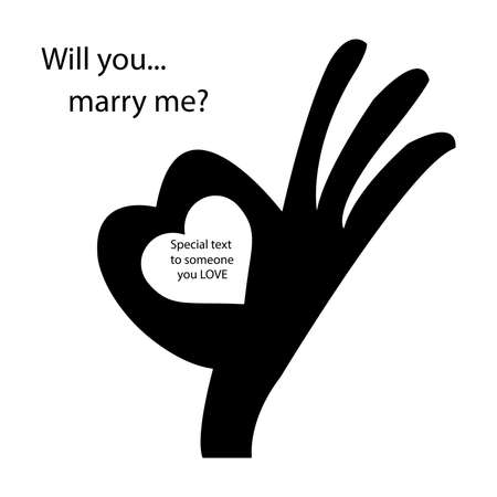 human okay hand sign: human okay hand sign with heart shape, to use for answering the question will you marry me? Stock Photo